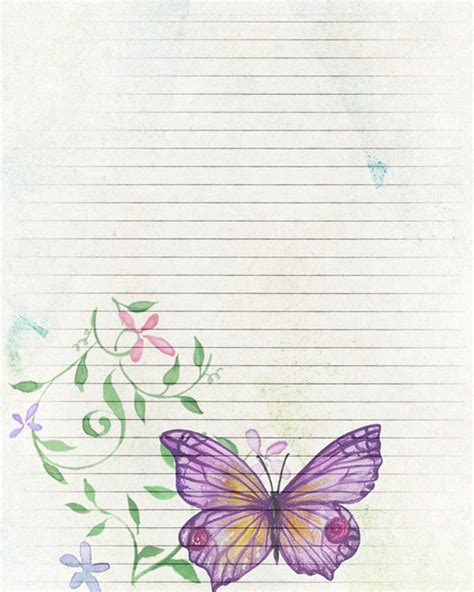 butterfly writing paper printable journal page butterfly digital paper lined