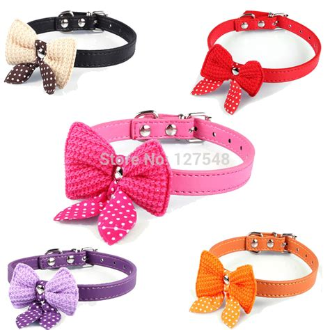 puppy collar size knit bowknot adjustable leather puppy pet collars necklace collars for dogs cat