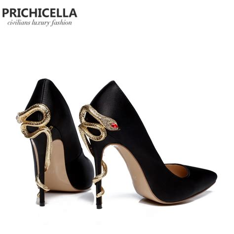 snake high heels prichicella satin gold mental snake heel dress shoe unique