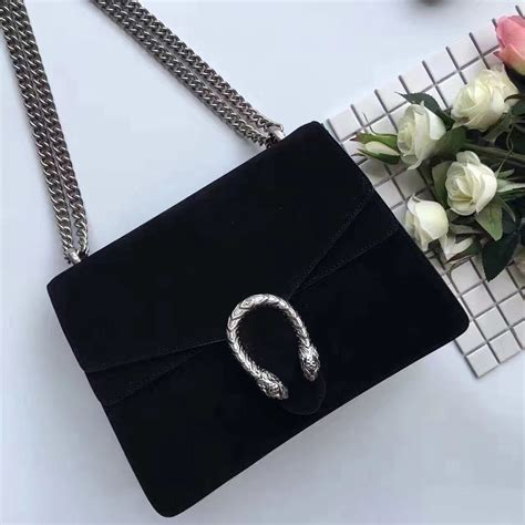 authentic quality 1 1 mirror replica gucci dionysus suede shoulder bag black gucci