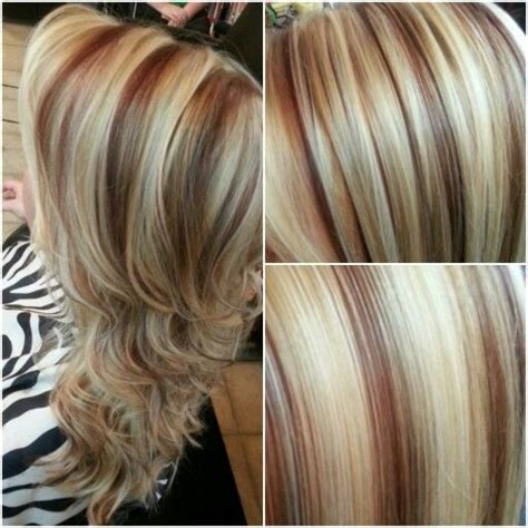 platinum blonde highlights with dark blond lowlights and red highlights a platinum blonde highlight with red