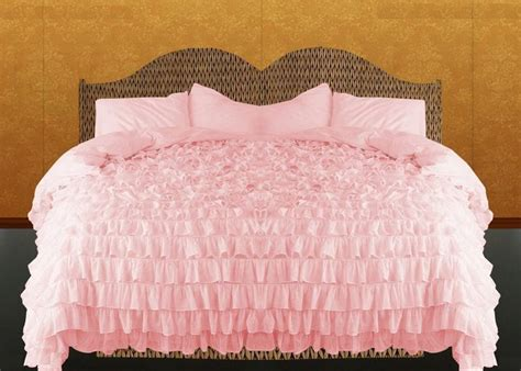 Pink Ruffle Duvet Cover Set 3pc Egyptian Cotton Bed Pink Ruffle Bedding