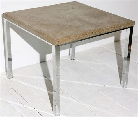 milo baughman style chrome and parsons side table at