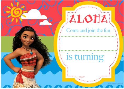moana birthday card template moana invitation ideas theruntime