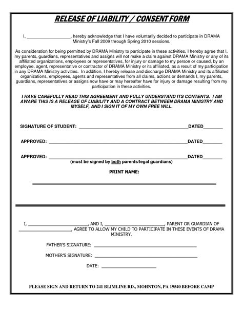 free liability waiver template best photos of liability release form template general