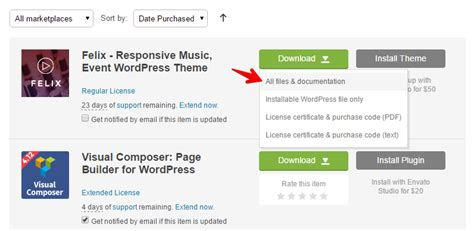 themeforest documentation how to download and install a wordpress theme from