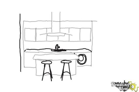 draw kitchen how to draw a kitchen drawingnow