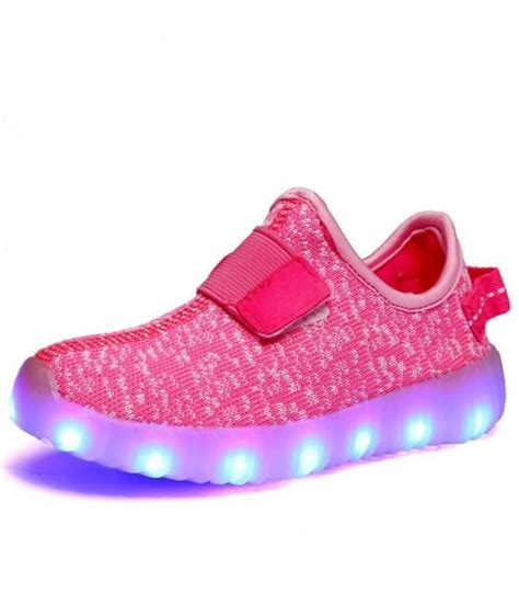 toddlers pink mesh led sneakers light up