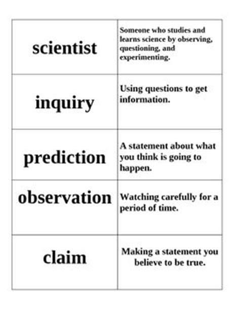 9 Science Vocabulary Word Cards With Matching Definitions