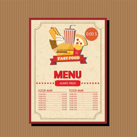 Fast Food Menu Template by The Gallery For Gt Fast Food Menu Template