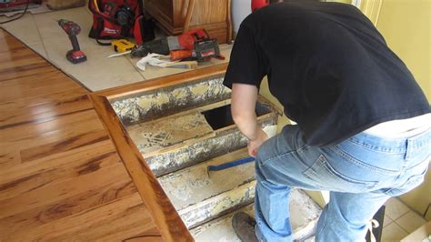 How to replace stair treads in a staircase part 1   YouTube