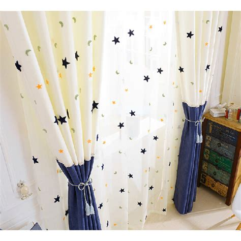 curtains with stars on them custom chenille blue white kids star curtains