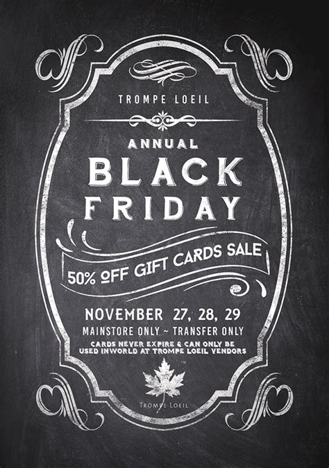 Gift Card Black Friday Sale - black friday 2015 50 off gift card sale nov 27 28 29 trompe loeil