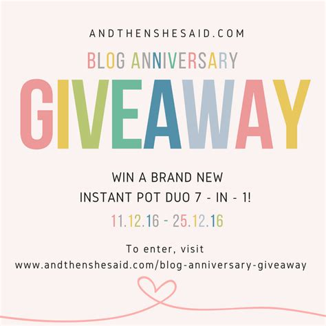 Blog Giveaway - blog anniversary giveaway closed and then she said