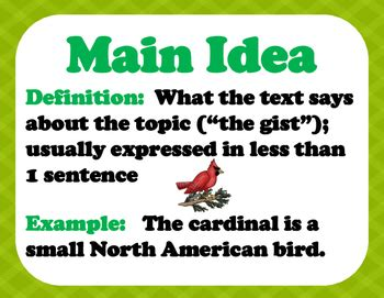 printable main idea poster main idea summary and topic reading posters by stephanie