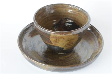 Bowl Plate bowl and plate in temmoku brown mardel