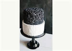 Very chic two tier black and white wedding cake from sweet bloom