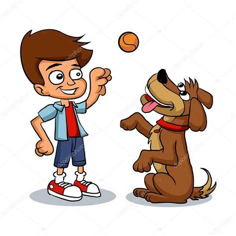 imagenes de niños jugando con un perro ni 241 o de dibujos animados jugando con su perro vector de