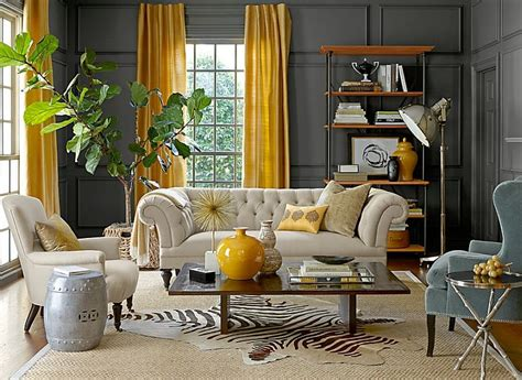 gray  yellow living rooms  ideas