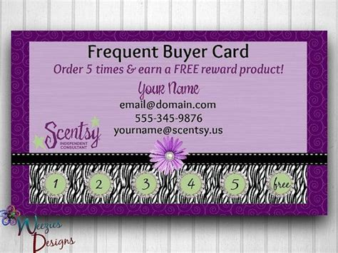 Scentsy Frequent Buyer Card Template by Scentsy Frequent Buyer Card Business Card Direct Sales