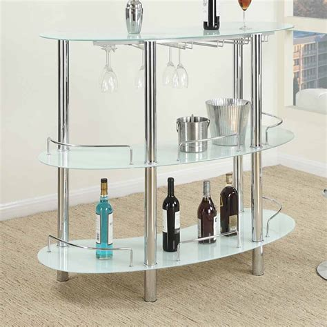 Shelf Of Wine Unopened by Bar Table Stand Frosted White Glass Shelf