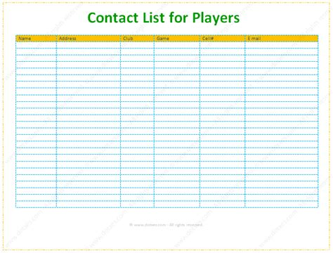 contact information list template optimus 5 search image free contact information template