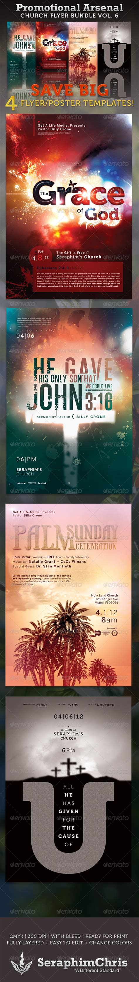 Promotional Arsenal Church Flyer Bundle 6 Graphicriver Church Promo Templates