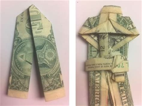 Origami Suit - money origami shirt and tie folding
