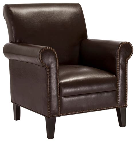 Brown Leather Accent Chair Ryker Chocolate Brown Leather Club Chair Contemporary Armchairs And Accent Chairs By Great