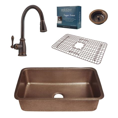 copper kitchen sink faucets sinkology pfister all in one orwell 30 in undermount