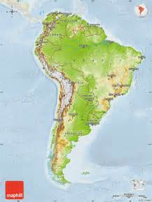 south america physical features map physical map of south america lighten