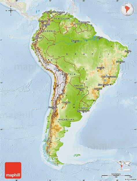 south america physical map physical map of south america lighten