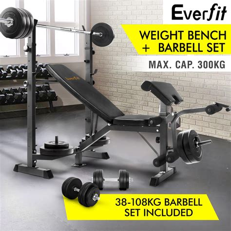 barbell set with bench multi station weight bench 38 108kg barbell set weight