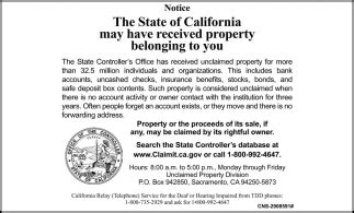 the state of california may received property