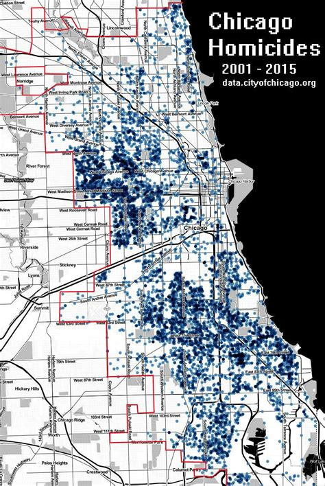chicago homicide map chicago homicides 2001 2015 maps on the web
