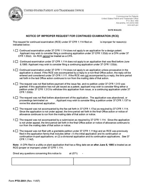 Transmittal Letter Uspto Employee Agreement Form
