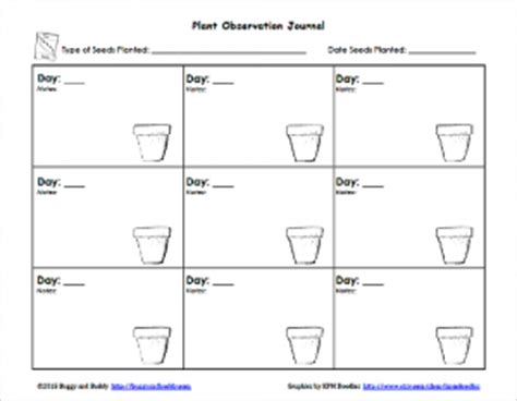 printable plant observation journal gardening with kids planting seeds with free printable