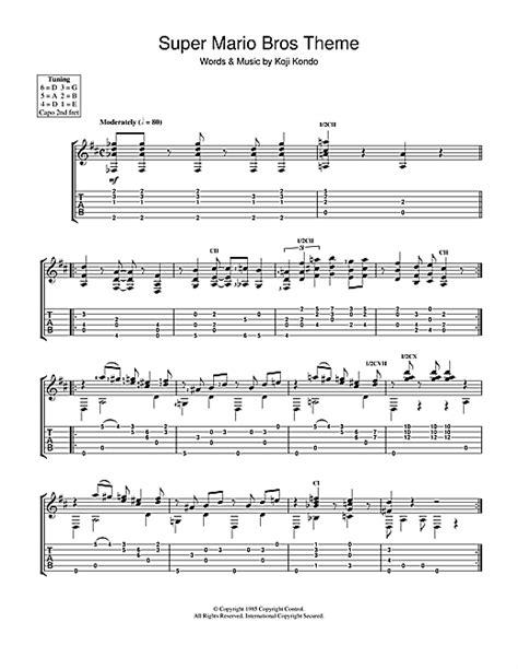 Super Mario Bros Theme Tablature Guitare par Koji Kondo
