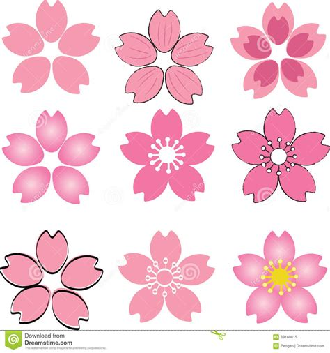 Set Pink Flowery cherry blossom japanese vector icon set vector