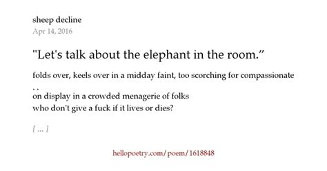 There Is An Elephant In The Room Poem by Quot Let S Talk About The Elephant In The Room By Sheep