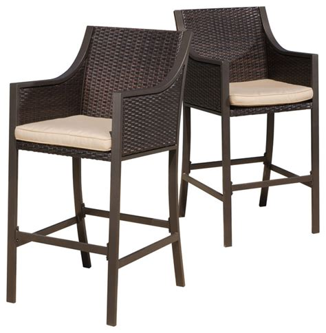 contemporary outdoor bar stools gdfstudio rani brown outdoor bar stools set of 2 view