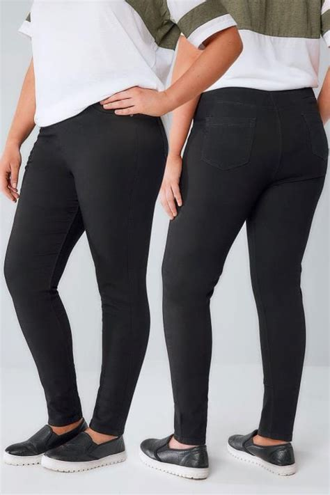 Leg 200 Medium Size Ekman Grab Sler Bottom Grab Sler black pull on stretch jeggings plus size 14 to 32
