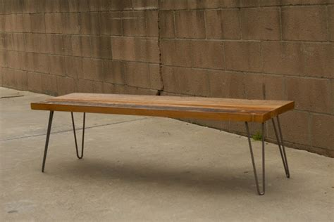 bench with hairpin legs arbor exchange reclaimed wood furniture patchwork