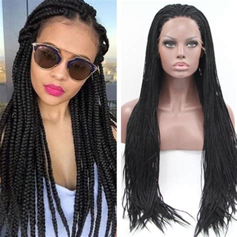 synthetic braiding hair wig kanekalon box braided lace havana mambo box braids synthetic lace front wig black