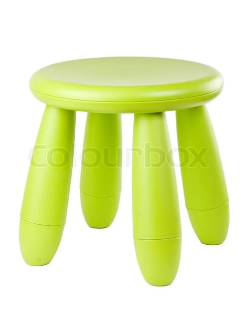 Green Liquid Stool by Baby Green Plastic Stool On A White Background Stock