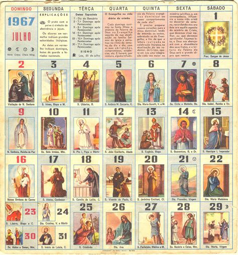 Calendario De Los Santos Catolicos | calendario de los santos catolicos
