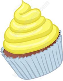 Silver Dog Tags Cupcake With Yellow Swirled Frosting Cartoon Clipart Vector Toons