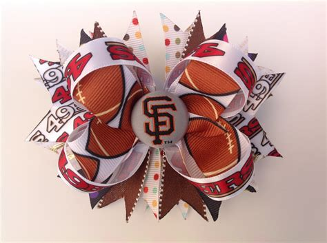 Dia Top Denim Sf T1310 7 sf 49ers stacked hair bow sport color hair bow