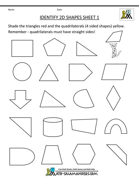 printable math worksheets shapes free coloring pages of with 2d shapes properties