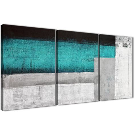3 Panel Teal Turquoise Grey Painting Office Canvas Wall